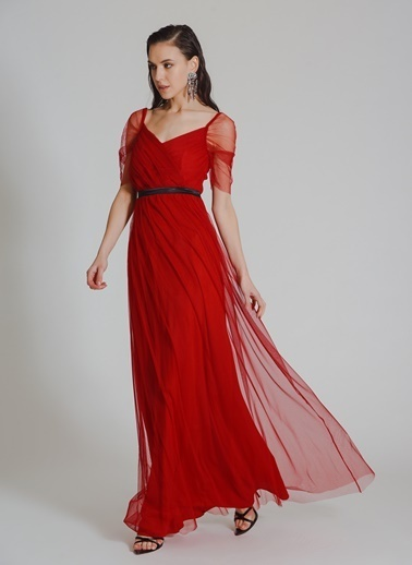 People By Fabrika Tül Abiye Elbise Kırmızı